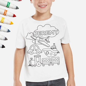 Exclusive Sale - Personalized Add Color Kid's Planes Trains & Automobiles T-Shirt