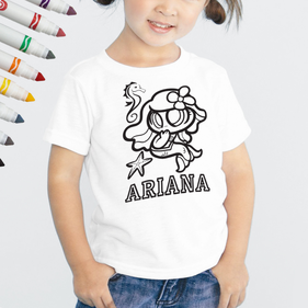 Personalized Add Color Kid's Mermaid T-Shirt