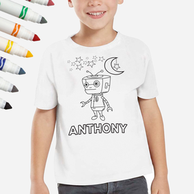 Exclusive Sale - Personalized Add Color Robot Kid's T-Shirt