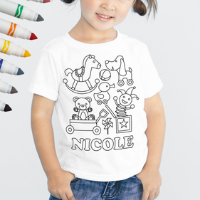 Exclusive Sale - Personalized Add Color Kid's Toy Box T-Shirt