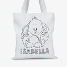 Personalized Add Color Kids Bunny Rabbit Tote Bag
