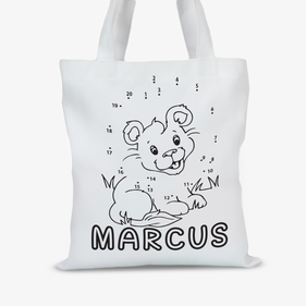 Personalized Add Color Kids Lion Tote Bag