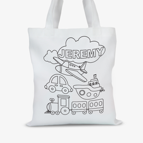 Personalized Add Color Kids Planes Trains & Automobiles Tote Bag