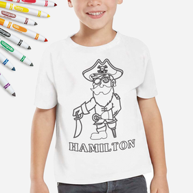 Personalized Add Color Pirate Kids T-Shirt