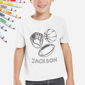Personalized Add Color Sports Kids T-Shirt