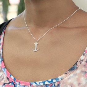 Personalized Sterling Silver Anchor Monogram Necklace