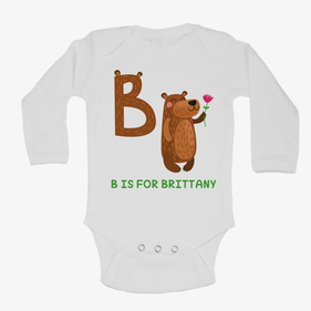 Personalized Baby Animal Initial Long Sleeve One-Piece Bodysuit