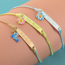 Sterling Silver Personalized Kids Bracelet with Pendant