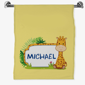 Personalized Baby Giraffe Bath Sheet