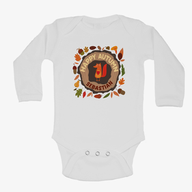 Monogram Baby Happy Autumn Long Sleeve One-Piece Bodysuit
