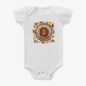 Custom Baby Happy Autumn Short Sleeve One-Piece Bodysuit