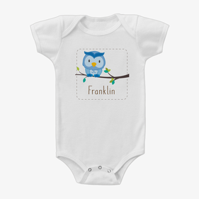 Personalized Baby Owl Short Sleeve One-Piece Bodysuit