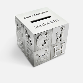 Personalized Baby's Block Bank Bright Finish