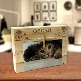 Personalized Ball Of Yarn Wood Box Frame w/ Clip