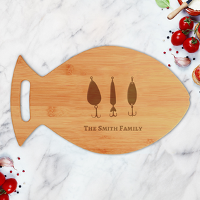 Personalized Bamboo Hook Fish Shaped Cutting Board