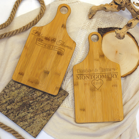 Personalized with Couple's Names Bamboo Serving Board