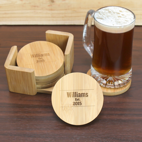 Exclusive Sale - Personalized  Bamboo Round 6 Coaster Set with Holder