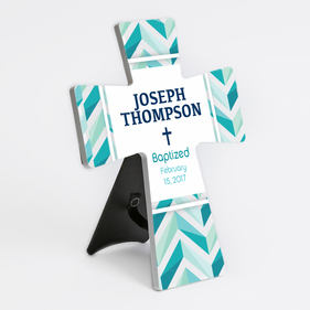 Personalized Baptized Ceramic Cross Stand