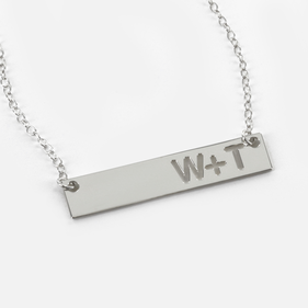 Personalized Couples Bar Necklace in Silver