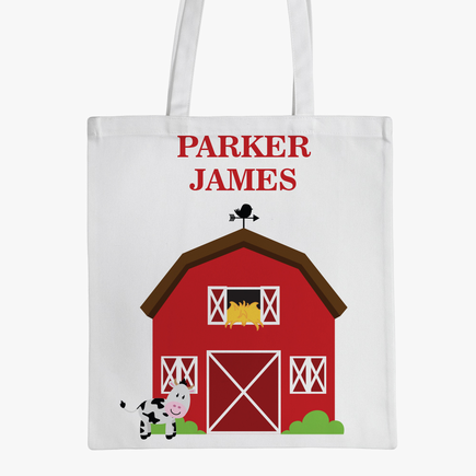 Personalized Barn Kids Tote Bag