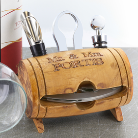 Personalized Barrel 4 Piece Wine Tool Set