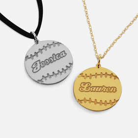 Sterling Silver Personalized Baseball Necklace w/ Name