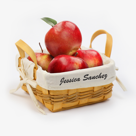 Personalized Fruit Basket with Embroidered Liner