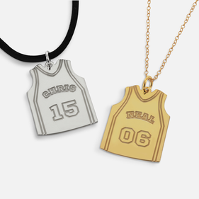 Sterling Silver Personalized Basketball Shirt Pendant with Name and Date