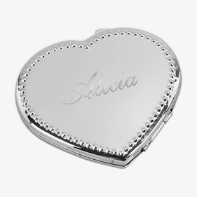 Personalized Beaded Heart Compact