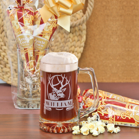 The Mancave Personalized 21oz Beer Mug and Popcorn Gift Set
