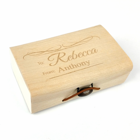 Personalized Birch Wood Veneer Gift Box