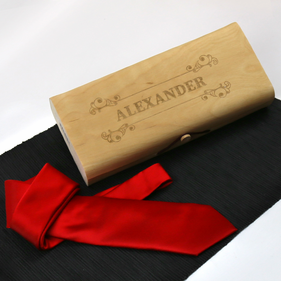 Personalized Birch Wood Veneer Gift Box With Tie