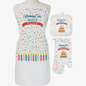 Personalized Birthday Cake Maker 3-Piece Apron, Potholder and Oven Mitt Set