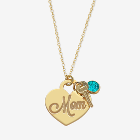 Personalized Birthstone Key Mom Necklace