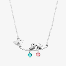 Personalized Birthstone Mother Bird Necklace