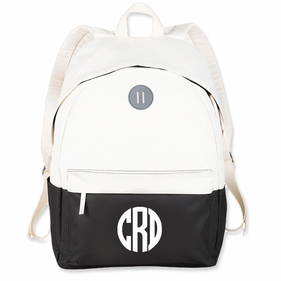 Personalized Block Monogram Beige/Black Backpack