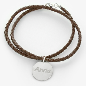 Personalized Braided Wrap Silver Charm Bracelet