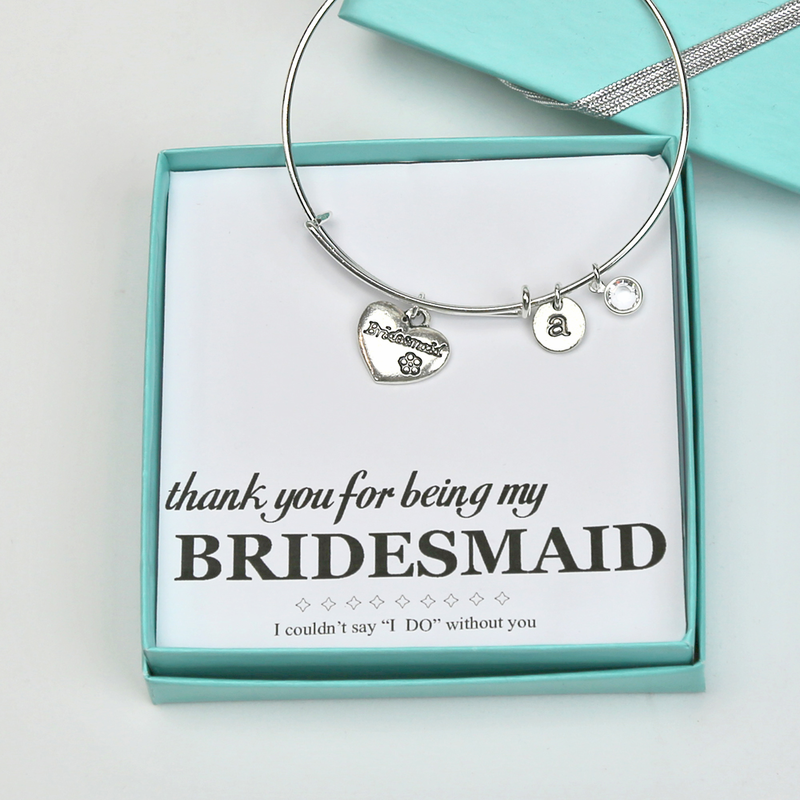 Bridesmaid Thank You Charm Bangle With Cz Gift Boxed