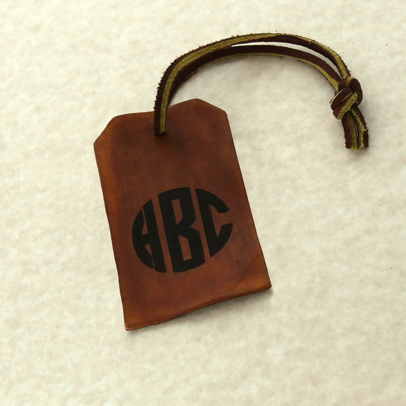 Custom Gifts - Brown Leather Monogram Luggage Tag - Buy Now