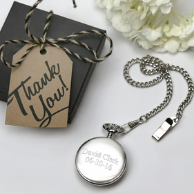 Personalized Brushed Silver Pocket Watch Gift Boxed
