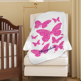 Personalized Butterflies Plush Baby Blanket