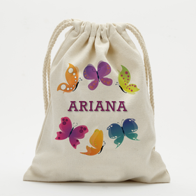 Personalized Butterfly Kids Drawstring Sack
