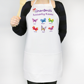 Personalized Butterfly Kisses Adult Apron for Mom and Grandma