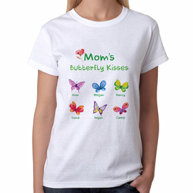 Personalized Butterfly Kisses T-Shirt for Mom