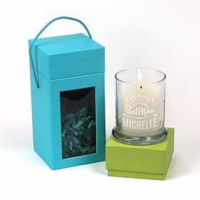 Personalized Candle Holder With White Scented Candle and Gift Box