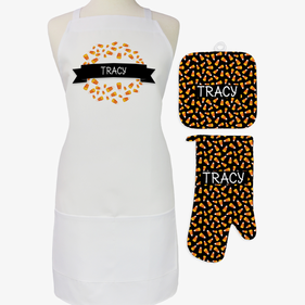 Personalized Candy Corn 3-Piece Apron, Potholder and Mitt Set
