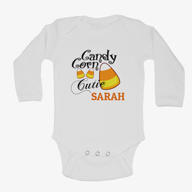 Personalized Candy Corn Long Sleeve One-Piece Bodysuit