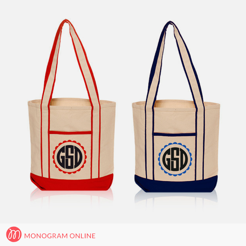 Personalized Canvas Shoulder Tote Bags - Monogram Online