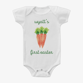Personalized Carrots Baby Short Sleeve One-Piece Bodysuit