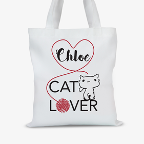 Personalized Cat Lover Tote Bag